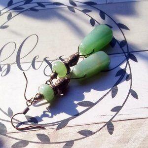 X-Long Copper + Green Aventurine Dangle Earrings